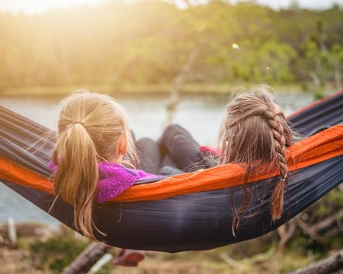 girls hammock swinging
